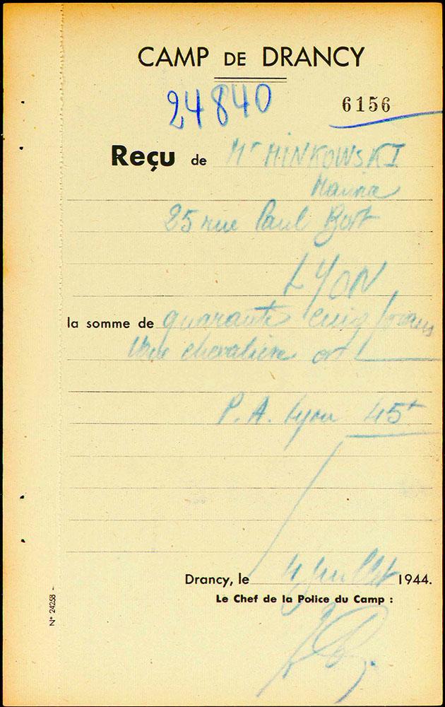 Maurice-Minkowski Fiche de dépôt Drancy