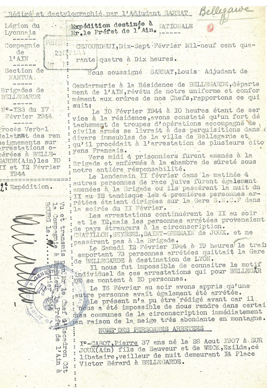 famille JOUKOWITZKI Procès-verbal de gendarmerie arrestations à Bellegarde-sur-Valserine 10-12 février 1944. a