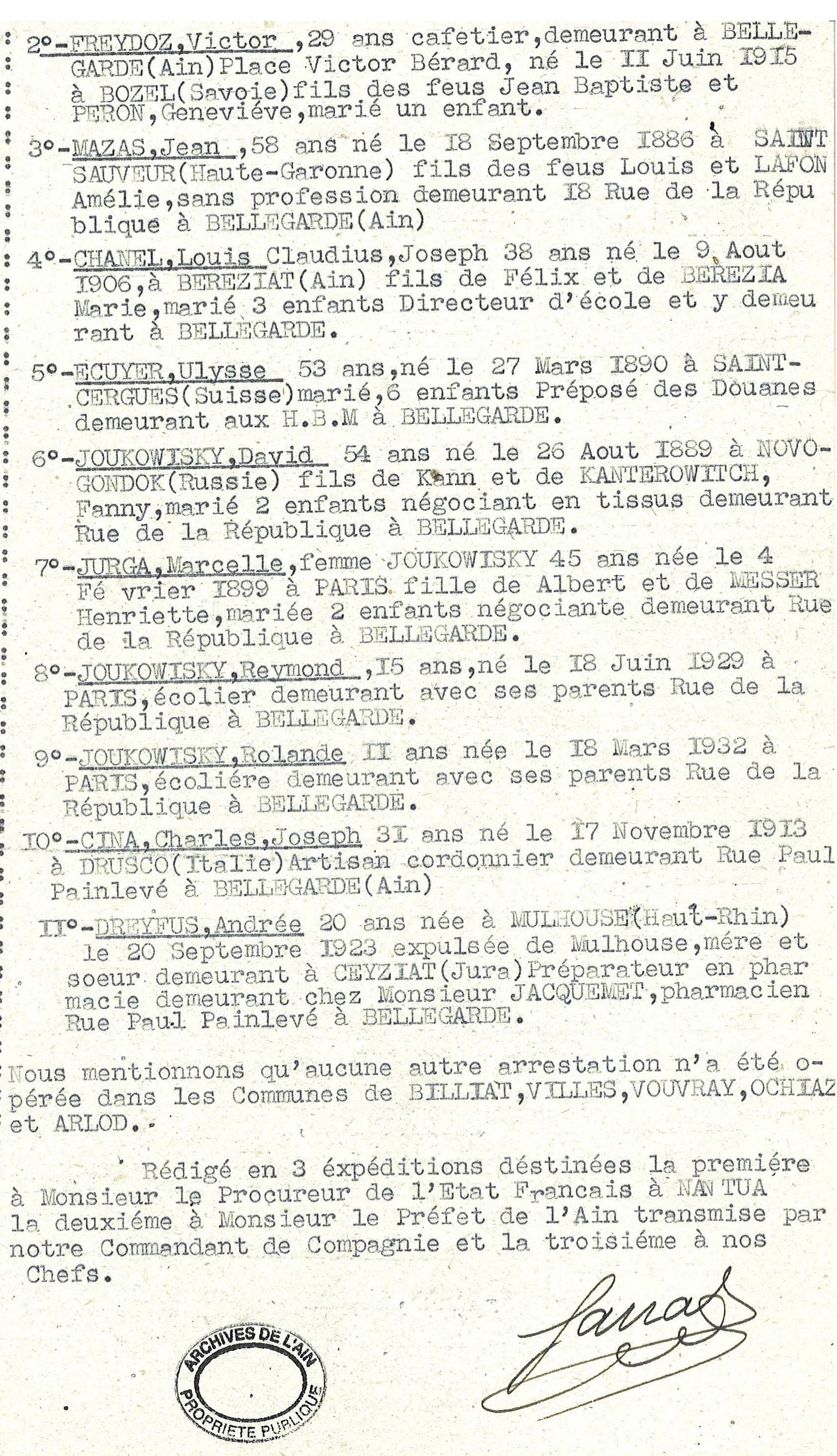 famille JOUKOWITZKI Procès-verbal de gendarmerie arrestations à Bellegarde-sur-Valserine 10-12 février 1944. b