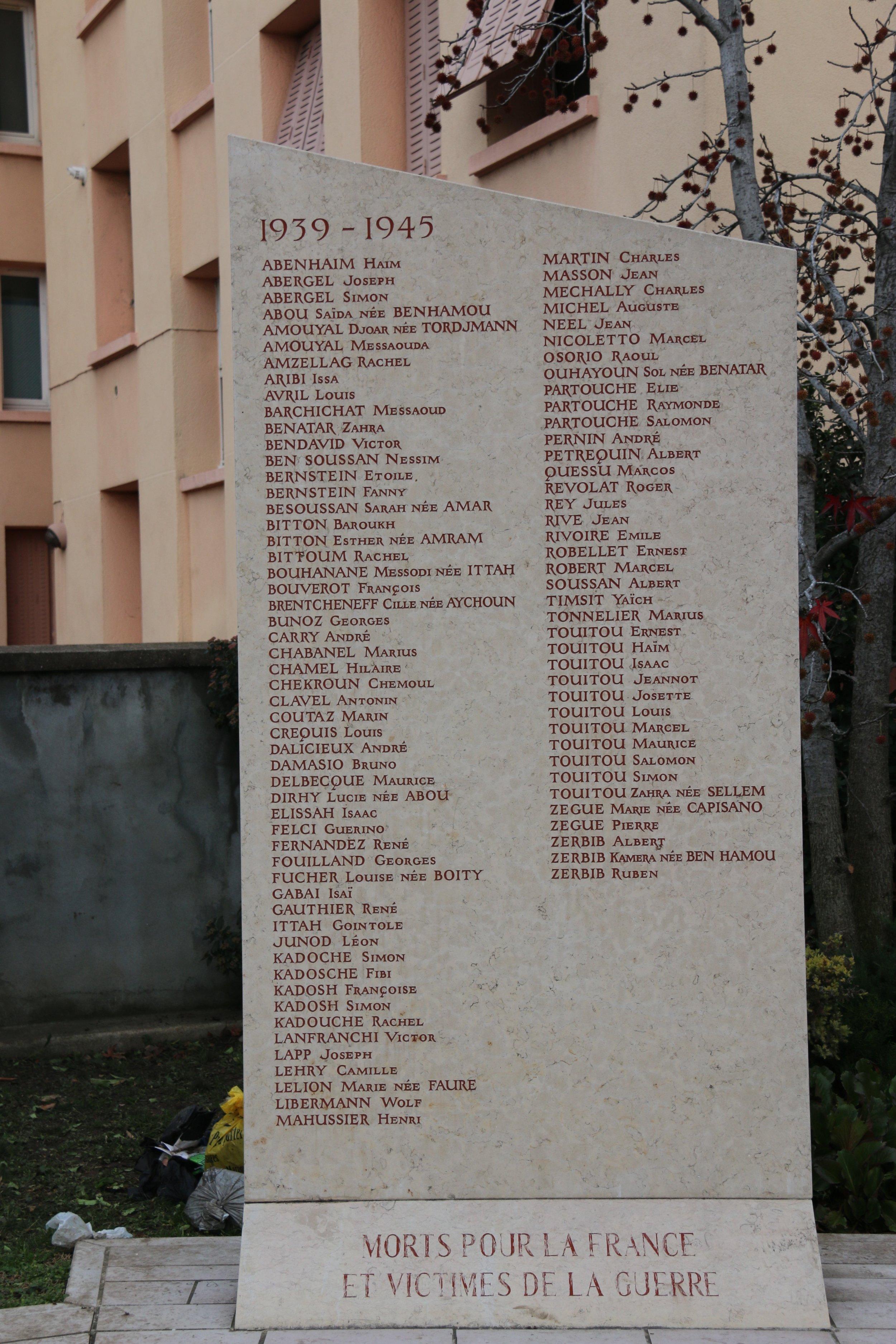 Fanny Bernstein Monument aux morts de Saint-Fons