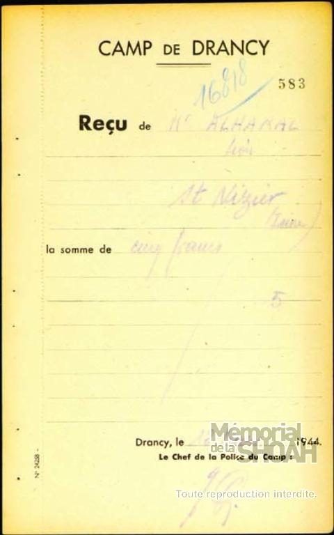 Léon Alharal Fiche de dépôt Drancy
