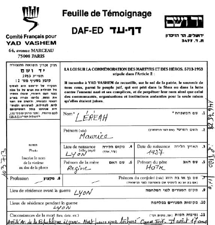 Maurice Lereah Fiche Témoignage YVS