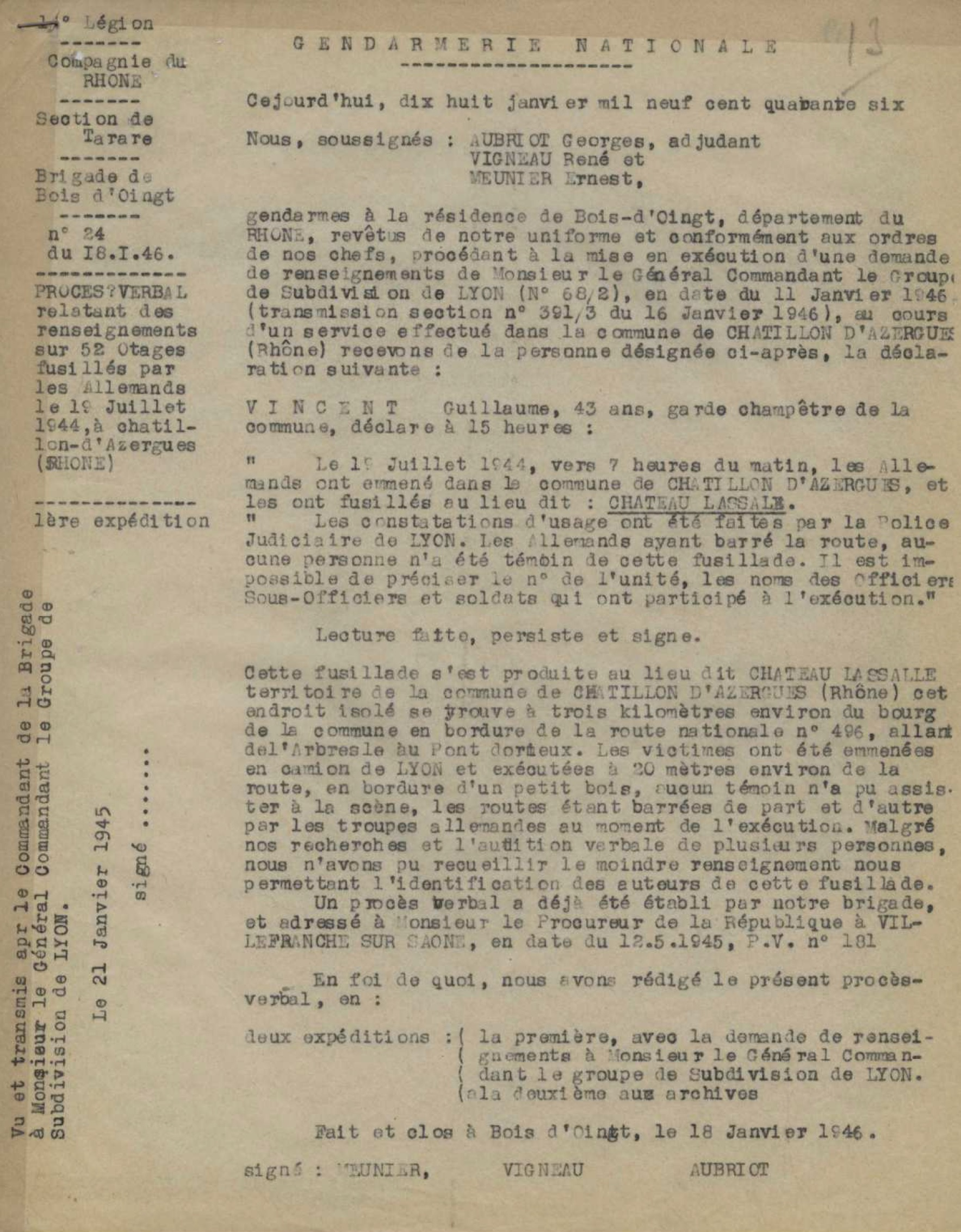 Procès verbal du 18/01/1946 sur les 52 fusillés de Chatillons d'azergues