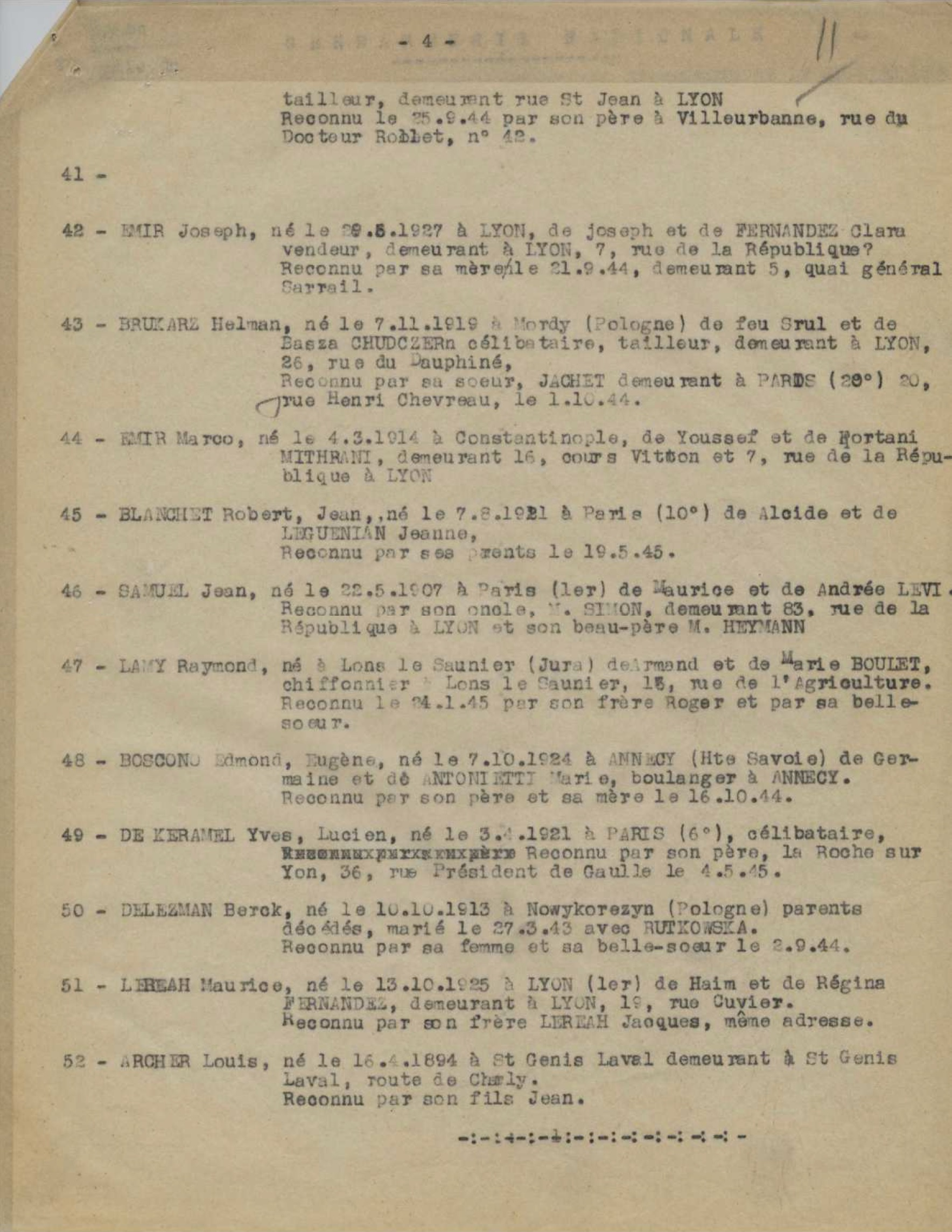 Maurice Lereah, Procès verbal du 18/01/1946 sur les 52 fusillés de Chatillons d'azergues