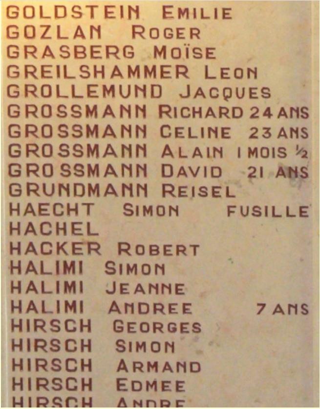Alain Grossmann plaque commémorative de la synagogue de Saint-Étienne