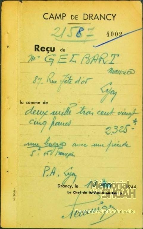 Maurice Gelbart Fiche de dépôt Drancy