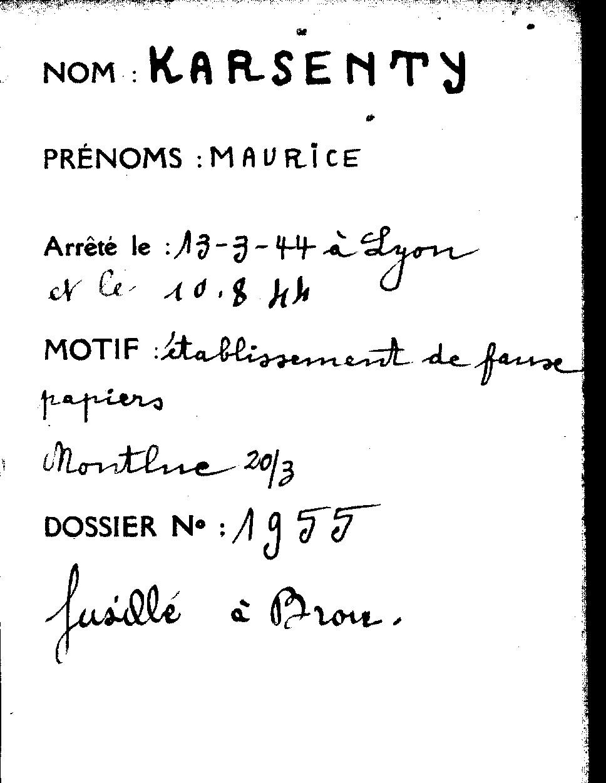 Karsenty Maurice Fiche Montluc