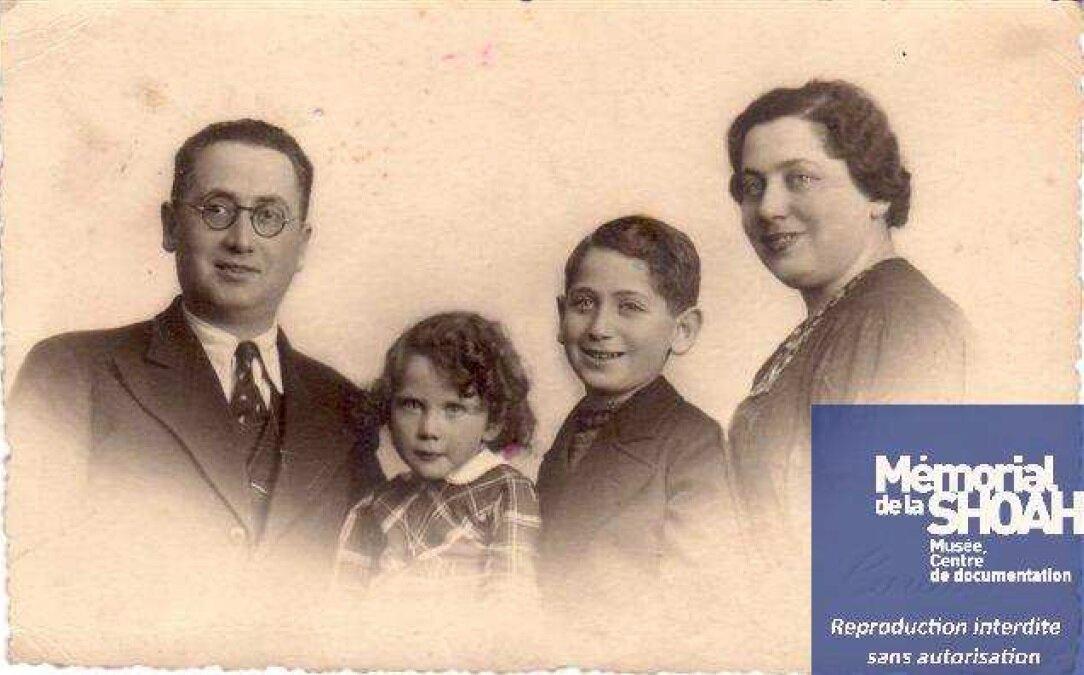 Arlette Dreyfus avec son frère Roland et leur parents