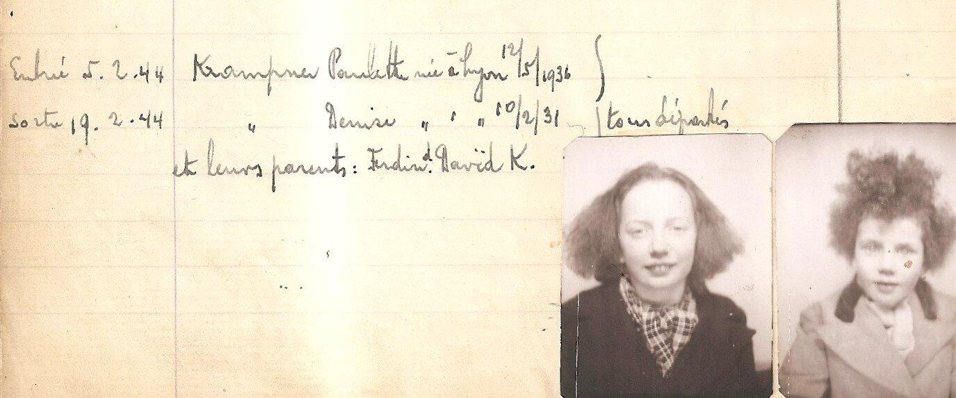 Denise et Paulette Krampner Registre de la Maison du Refuge (05/02/1944 au 19/02/1944)