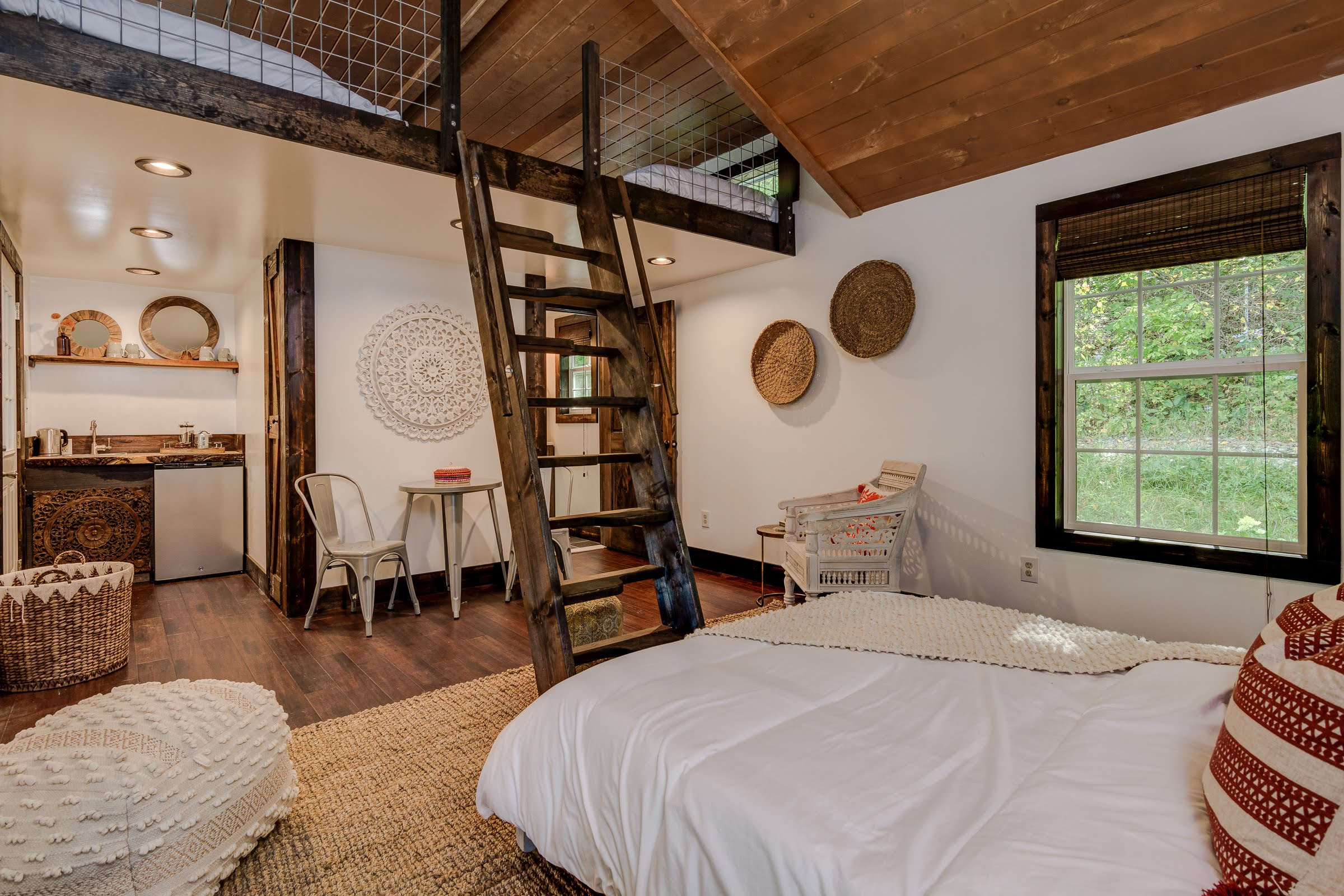 renovated interior cabins asheville wellness retreat