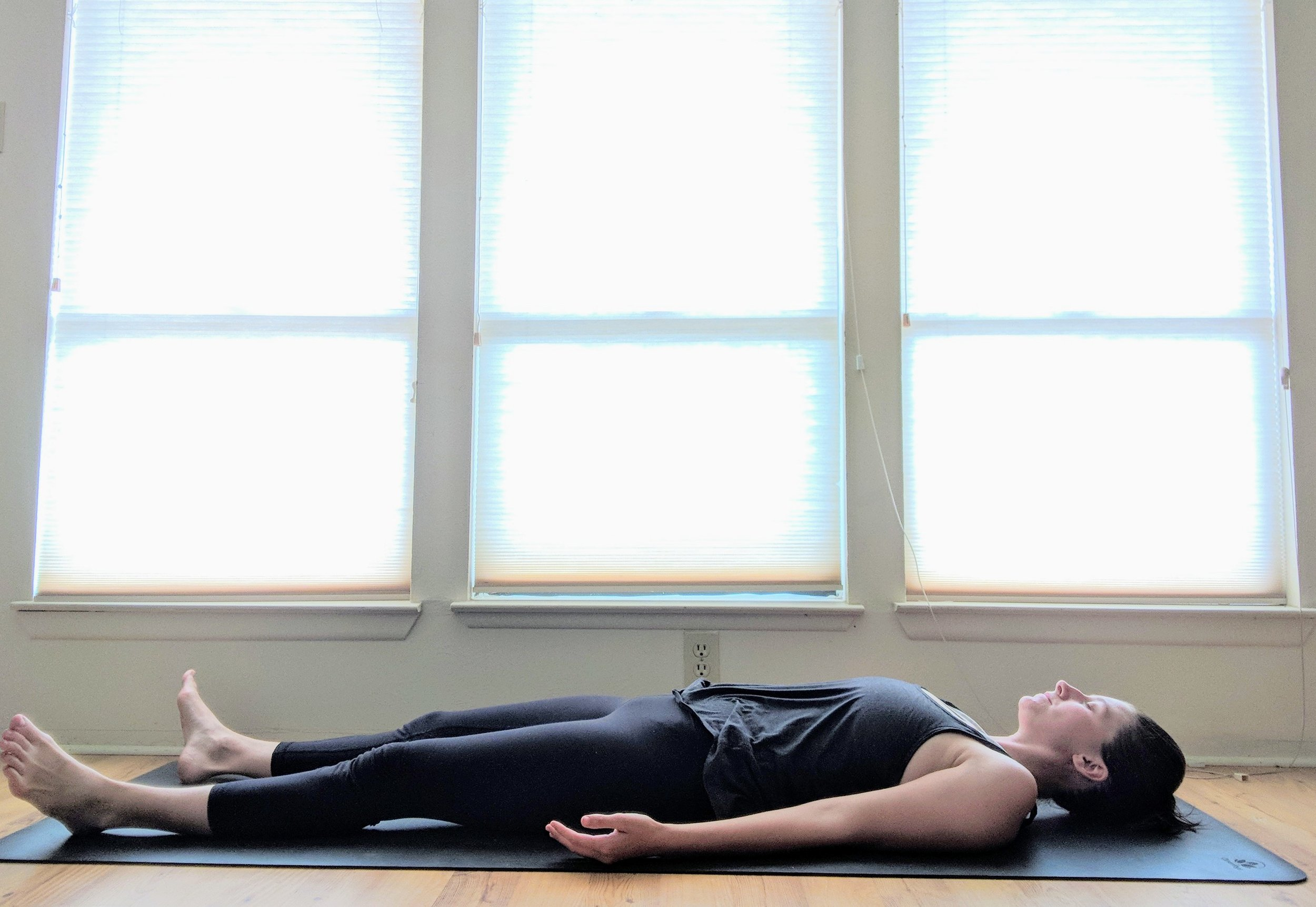 savasana - Lay down on your backRelax your entire bodyPalms can face upBring a pillow to your low back or under your kneesMODIFICATION - Legs up the wall is a good alternative if lying on your back is uncomfortable