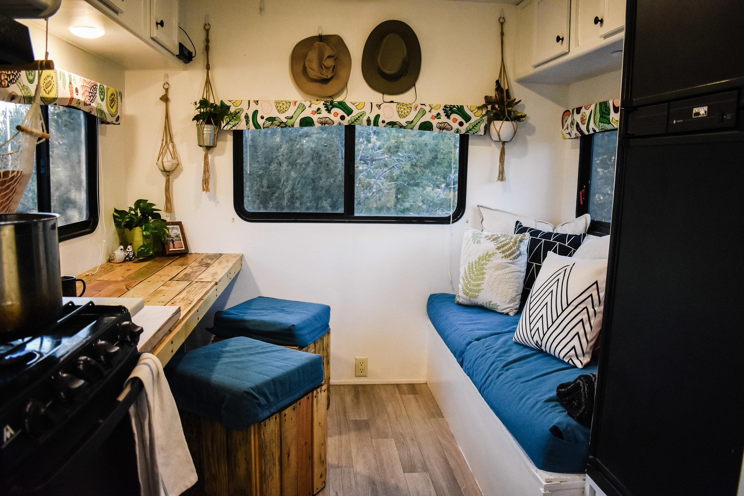 Tiny House RV Renovation Living Room and Dining Room