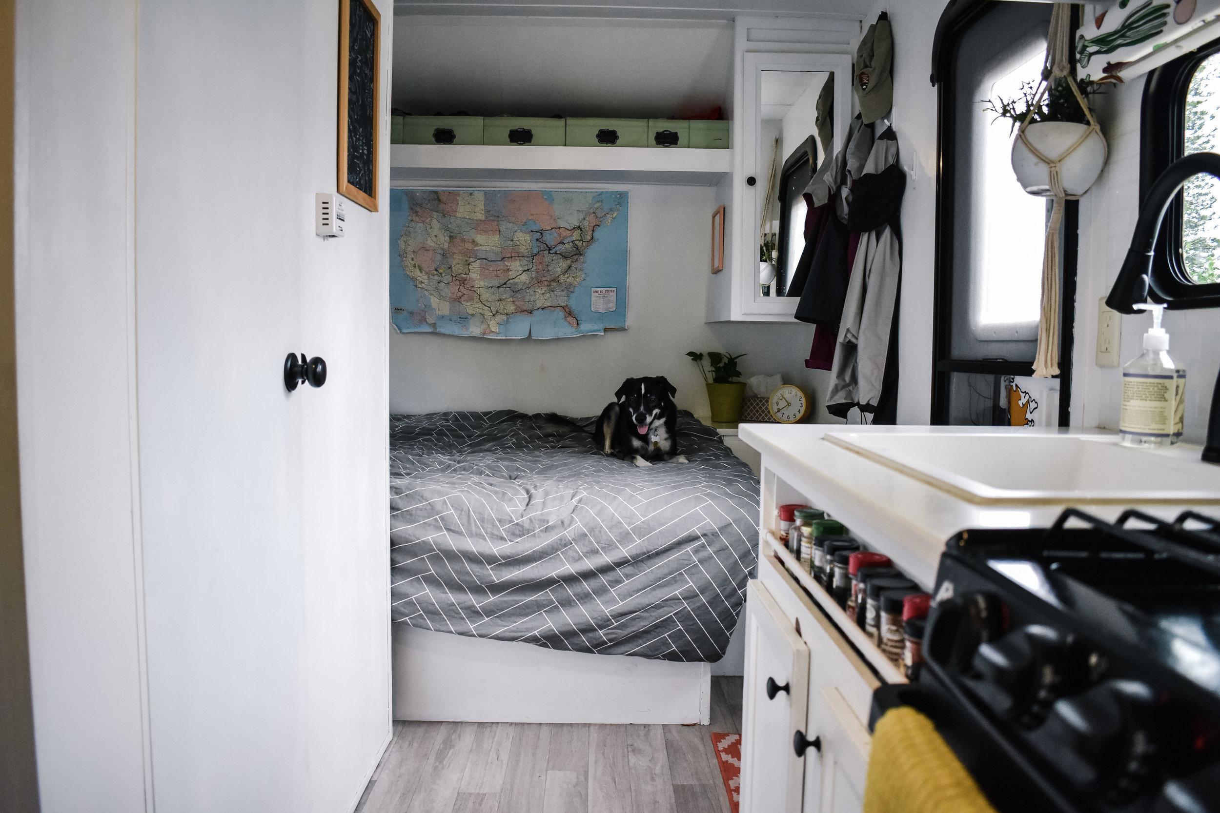 RV renovation bedroom and kitchen