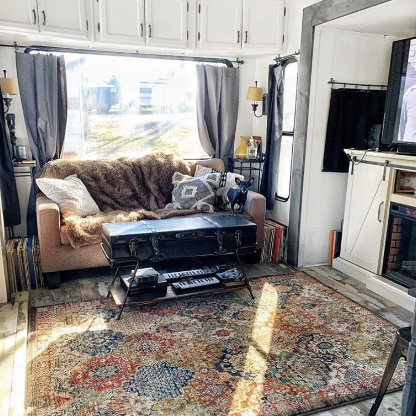 beautiful fifth wheel renovated living room