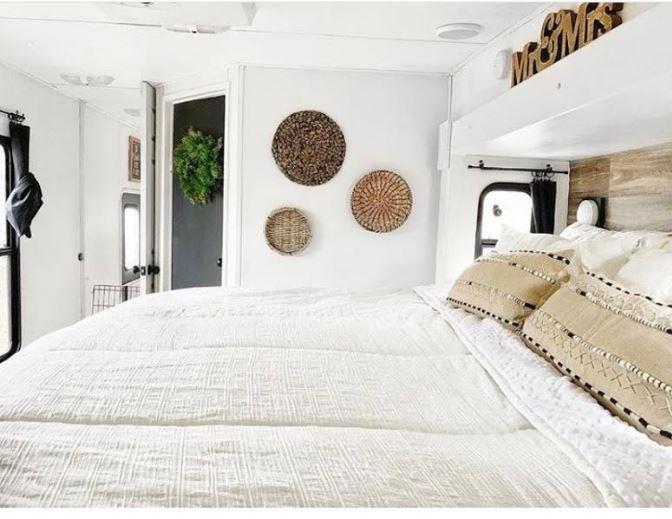 fifth wheel renovated interior bedroom