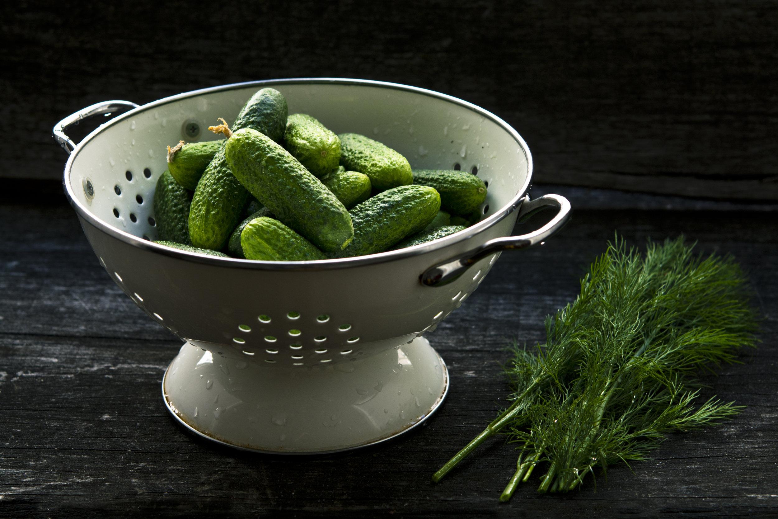 clean fresh cucumbers