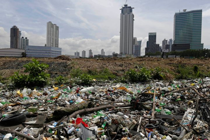 CARLOS JASSO / REUTERS  Plastic bottles and general waste are piled up at a beach in Panama City September 4, 2013.