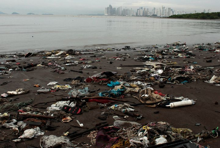 ASSOCIATED PRESS Panama on Saturday became the first Central American nation to ban single-use plastic bags to try to curb pollution. Trash litters the shore near a mangrove forest of Panama City in 2012.
