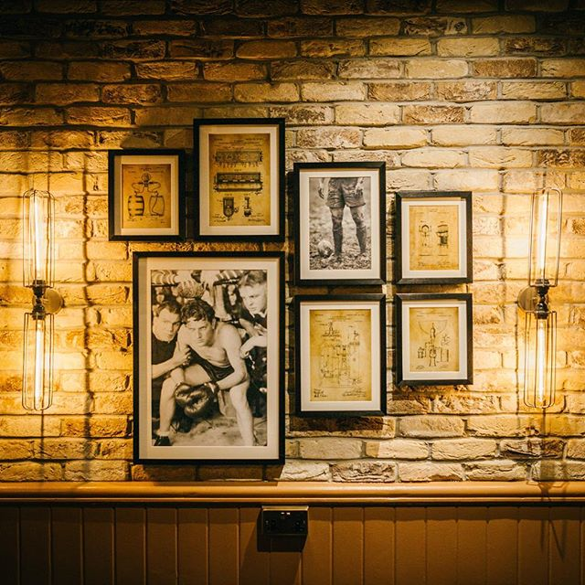 An art cluster we recently did  for @thegoldenlionfulham18  In the 1970's this pub was a meeting place for Led Zeppelin!  The artwork has connections to the local area.  c/o @jmda_ltd_interiors  #interiors #fullham #mitchellsandbutlers #restaurantdesign #interiorstylists #ledzeppelin