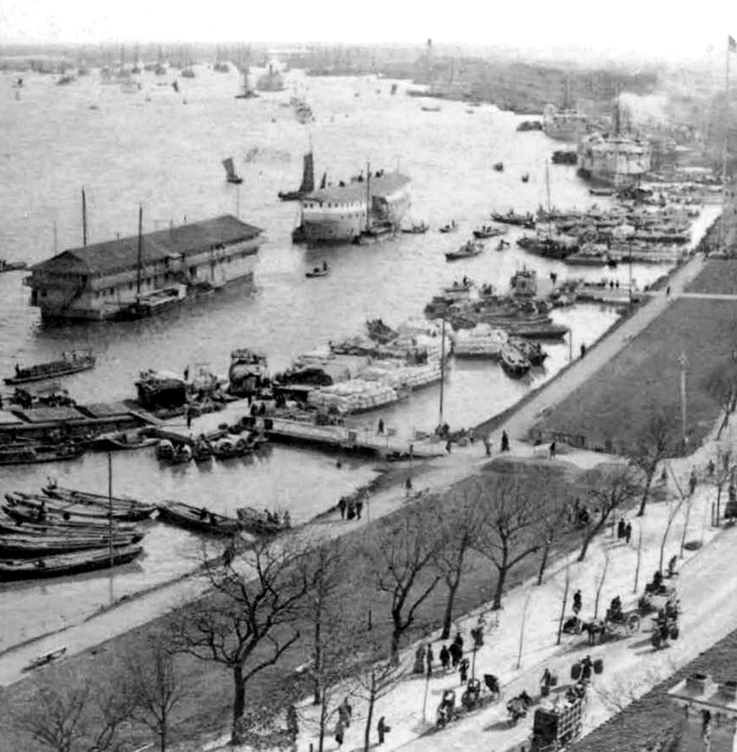 Opium storage ships or floating godowns at Canton (Guangzhou) harbor, late 19th century   (photo credit: Granger, NYC–All rights reserved)