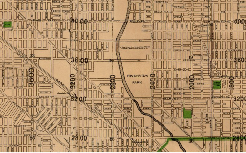 Riverview, Chicago 1914 map