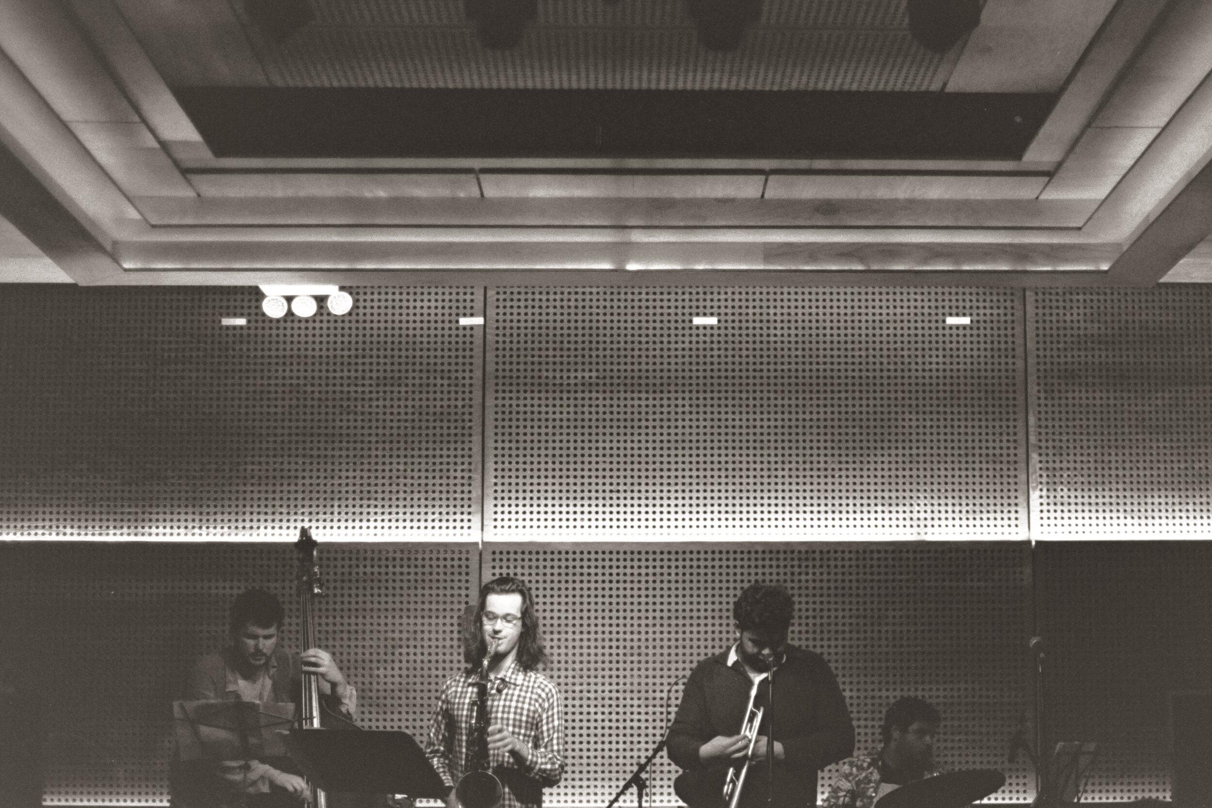 L to R: Walter Stinson (bass), Xavier Con Castillo (sax), Adam O'Farrill (trumpet), Zack O'Farrill (drums)