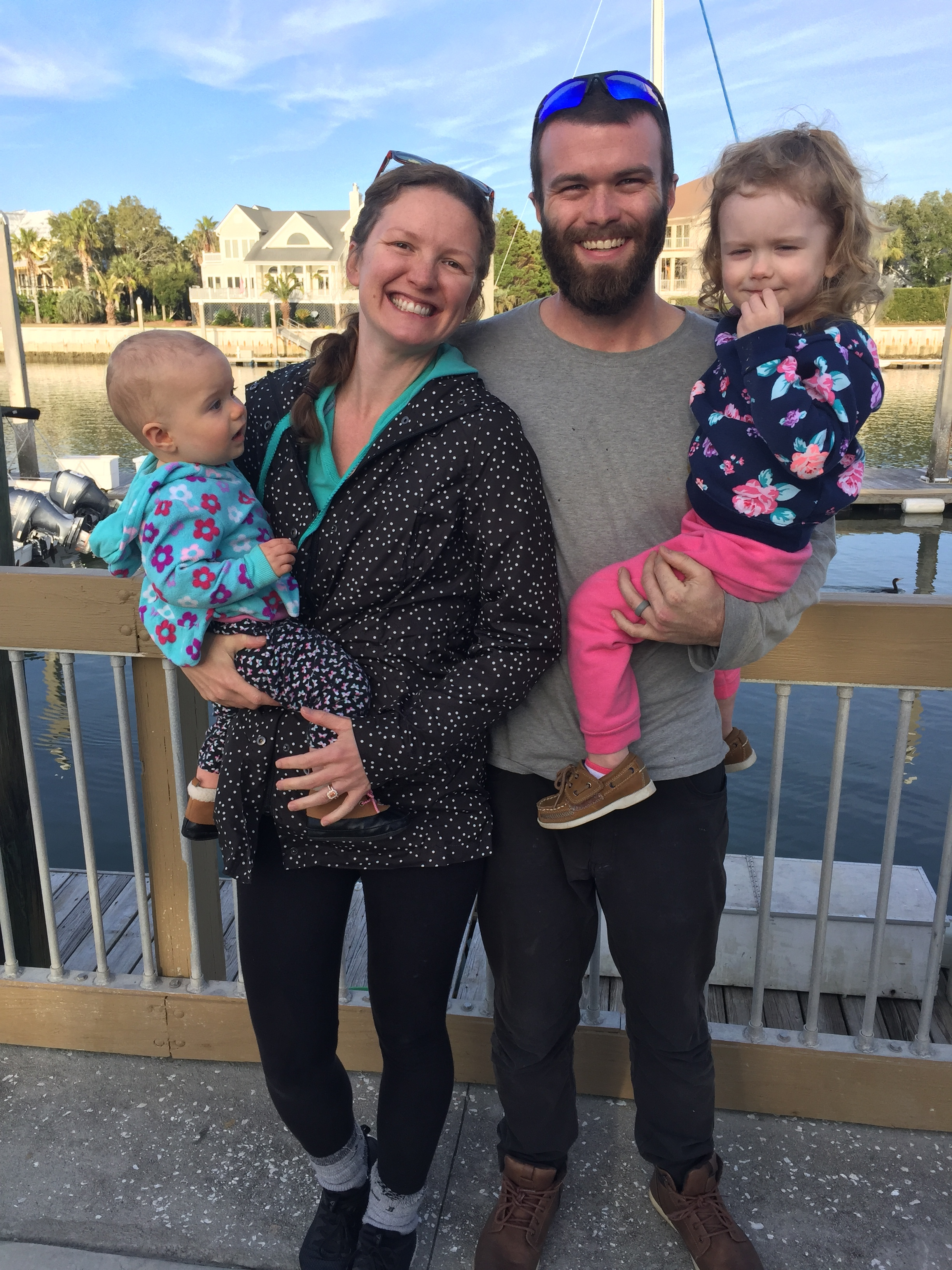 The Haggy family in sunny, but cold, Isle of Palms, SC in January, 2019.