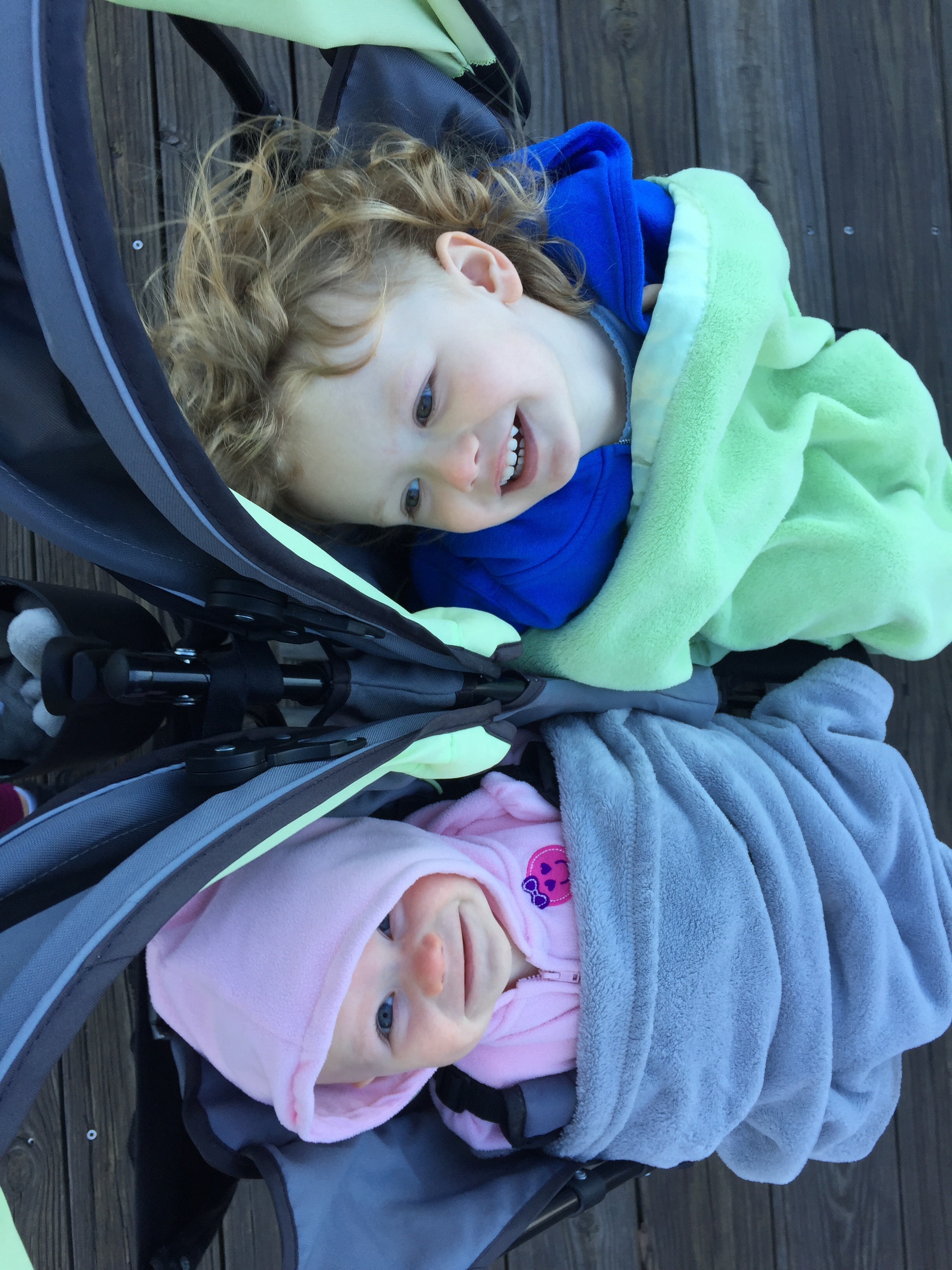 Bundled up for our morning walk. It's getting cold in Wilmington, NC. Time to head south soon!