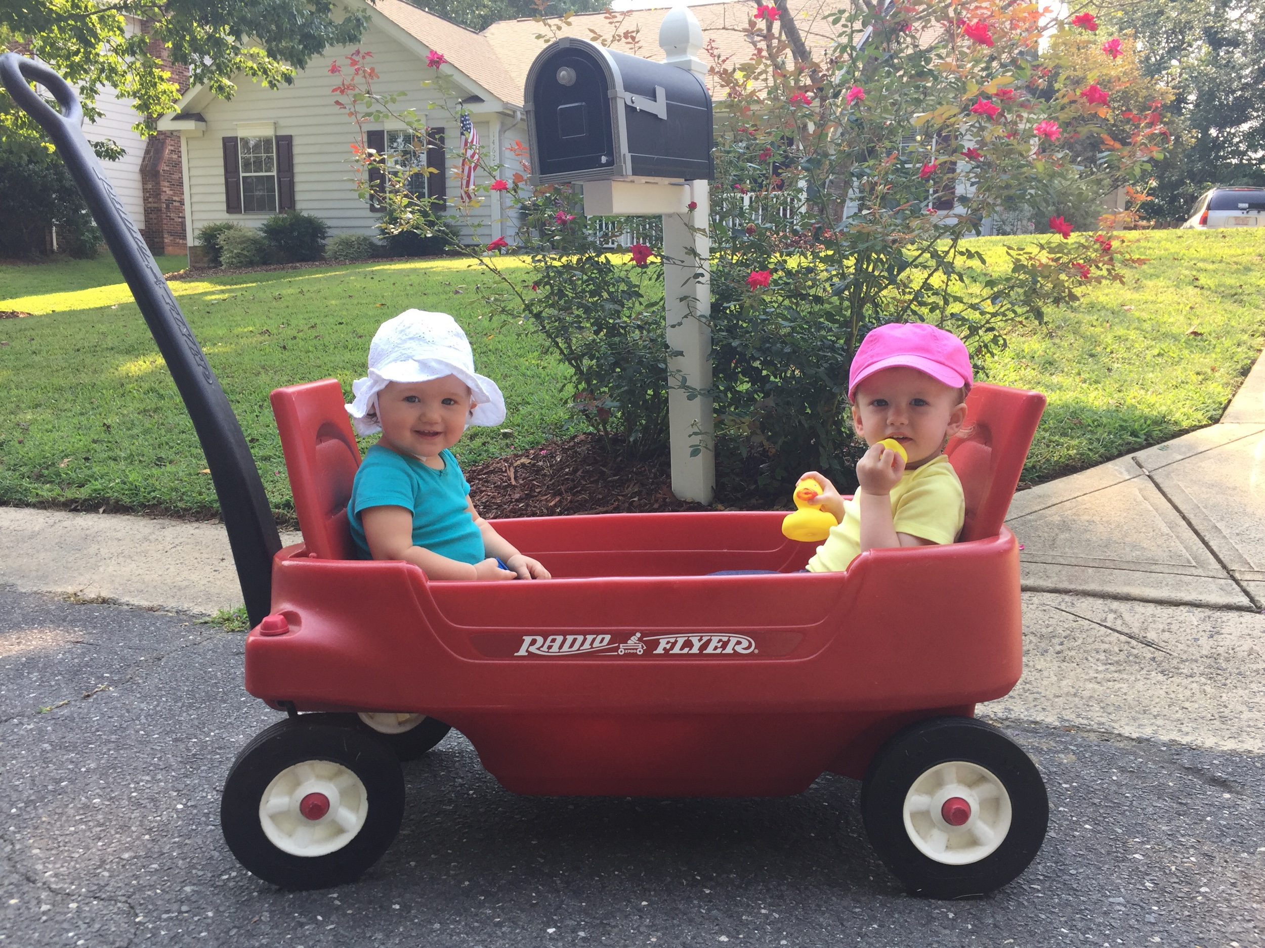 September, 2017: Abby Clare and her bestie Maci Pearl taking a ride on the streets of our old neighborhood, Woodside Falls.