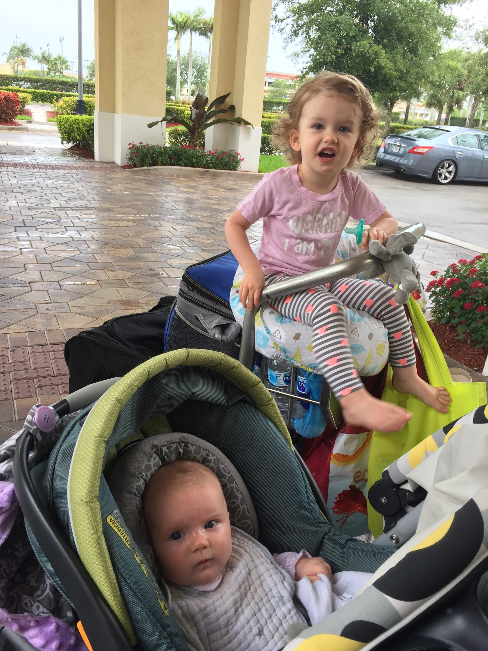 Leaving a hotel in Boynton Beach, FL with ALL of our baggage. My CRV was jam packed. We have gotten much more efficient!