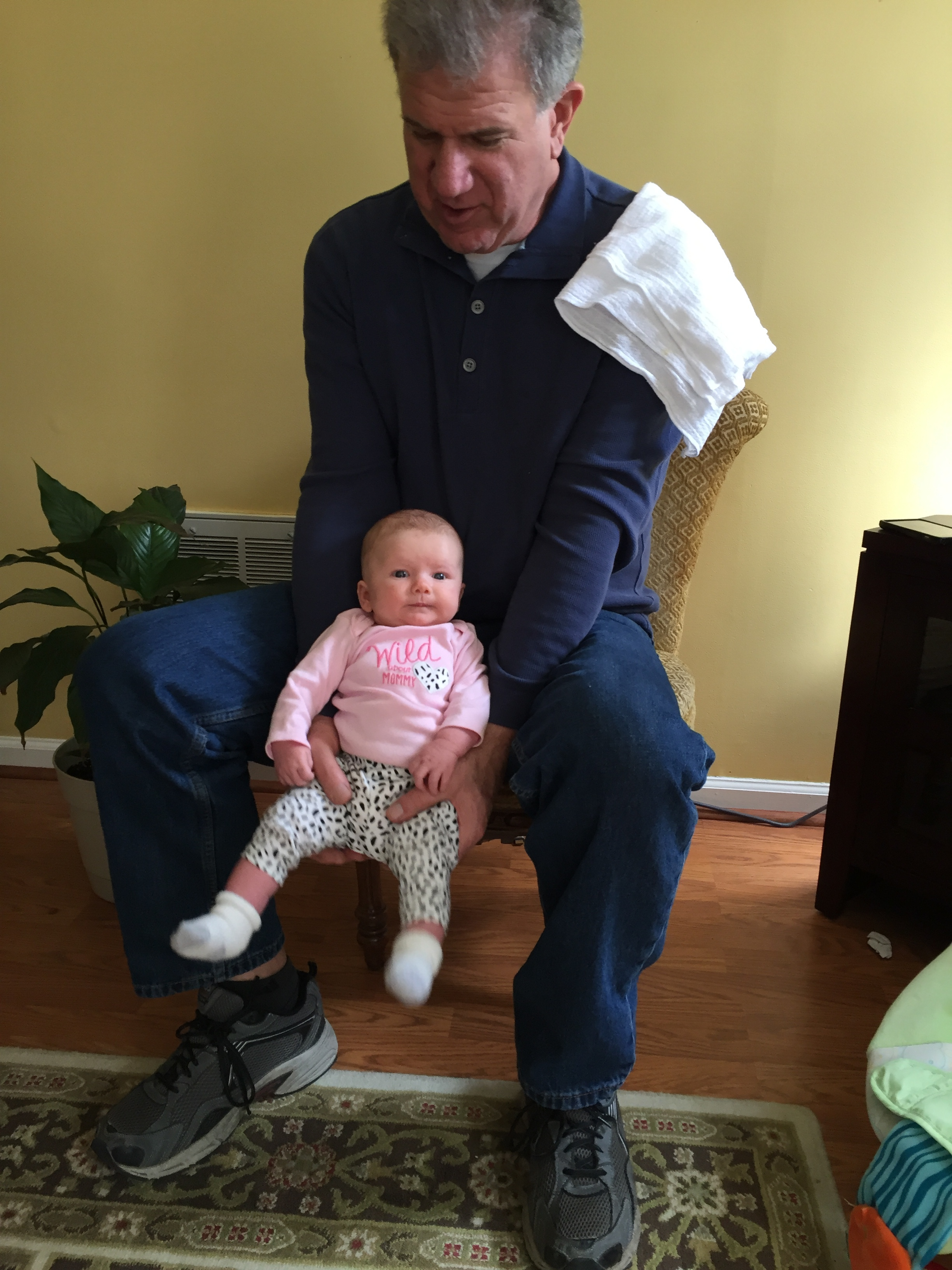 March, 2016: My Godfather, Terry, visiting me in Charlotte, NC and meeting Abigale when she was about 5 weeks old.