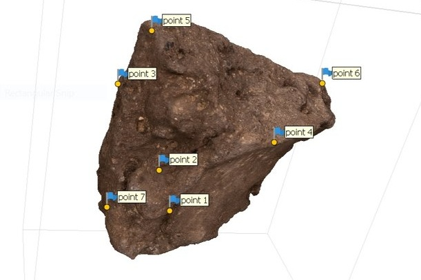 Fig. 3. 3D modeling of an Early Dynastic seal impression from the Abydos North Cemetery, front view in process. Photo: Blair Simmons / North Abydos Expedition © 2019