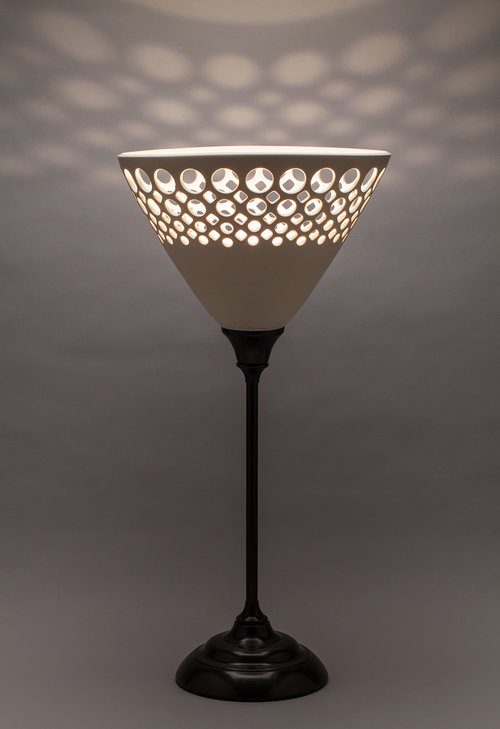 Conical Half Lace Table Lamp - Dimensions: 23