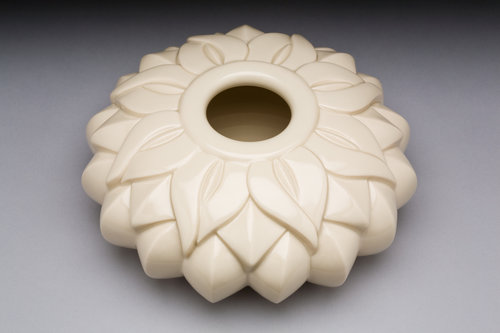 Striped Lotus Flat Orb - Color: White (Clear glaze)Material: Porcelain(Formerly Sins Seed Pot)