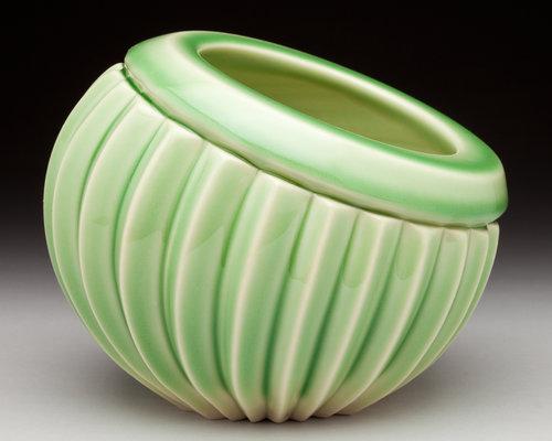 Off Kilter Bowl, Green Celadon