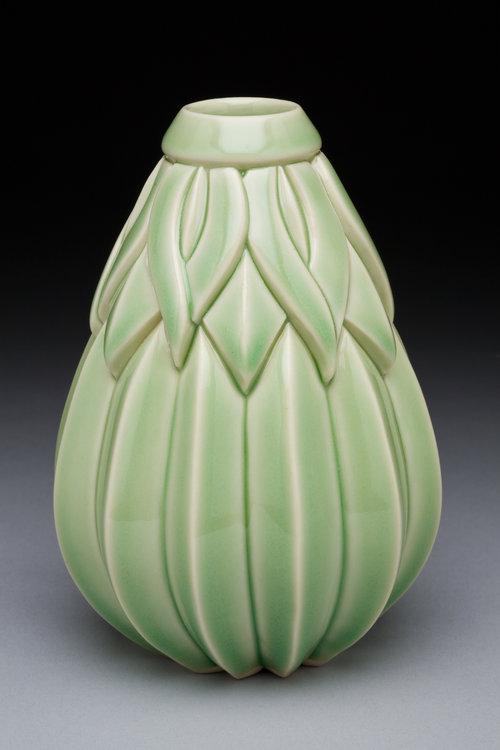 Striped Lotus Bulb Bud Vase, Tall, Green Celadon