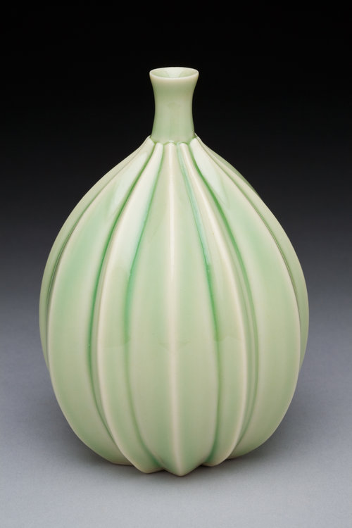 Miniature Elongated Striped Bud Vase - Color: Green CeladonMaterial: Porcelain