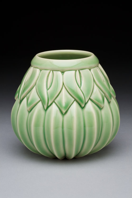 Striped Lotus Bulb Vase,Green Celadon, Wide