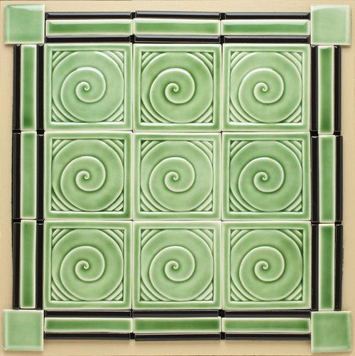 """Spirals, Green Celadon 6"""" x 6"""" $42 each"""