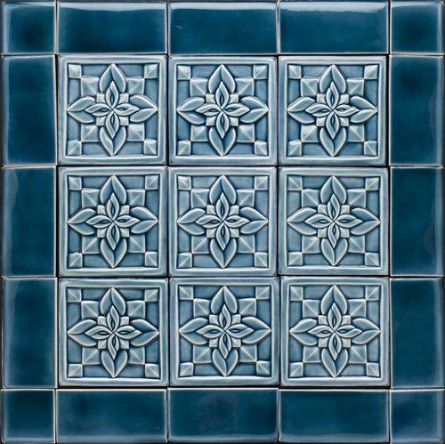 """Flowers, Double Petals, Blue Celadon, 6"""" x 6"""" each"""