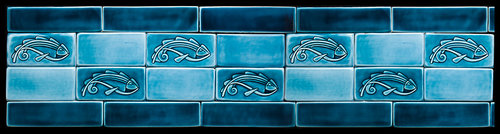 Unframed Fish Tiles with Border Tiles, Light Blue Celadon, available in various sizes