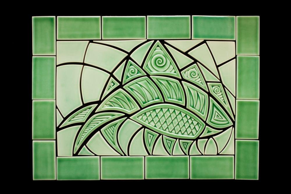 Custom Green Fish Tile Mural