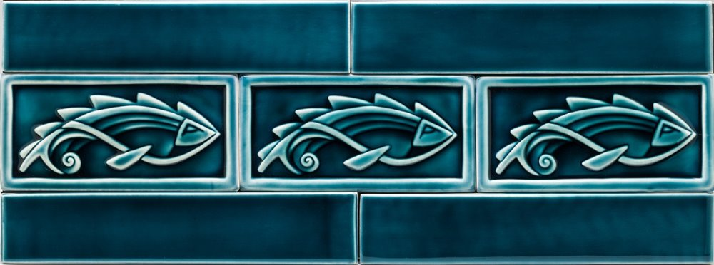 Framed  Fish Tiles With Border Tiles, Dark  Blue Celadon, available in various sizes
