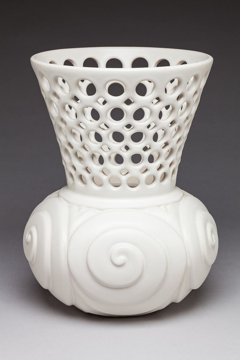 Spiral Shell Pierced and Carved Vessel - Dimensions: 9-1/2