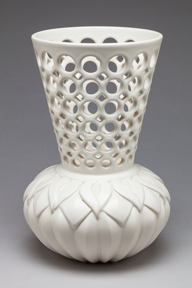 Calla Lily Pierced and Carved Vessel - Dimensions: 11 1/2