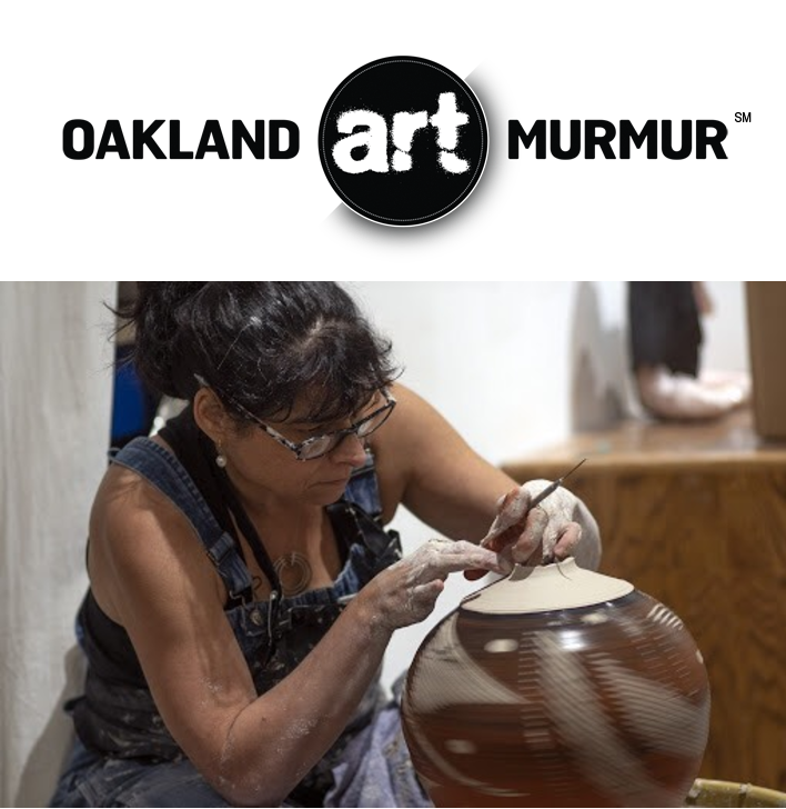 Lynne Meade gives wheel thrown pottery demo at Oakland Art Murmur First Friday