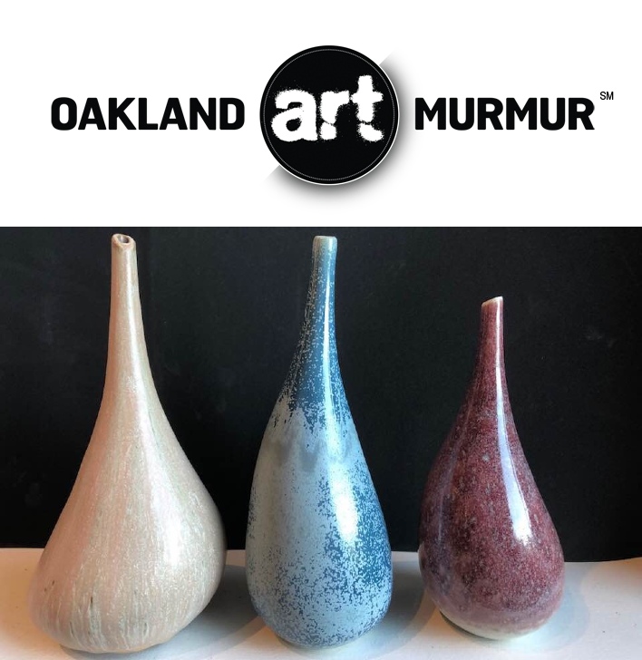 Lynne Meade Asymmetrical Vase Glaze Samples at Oakland Art Murmur