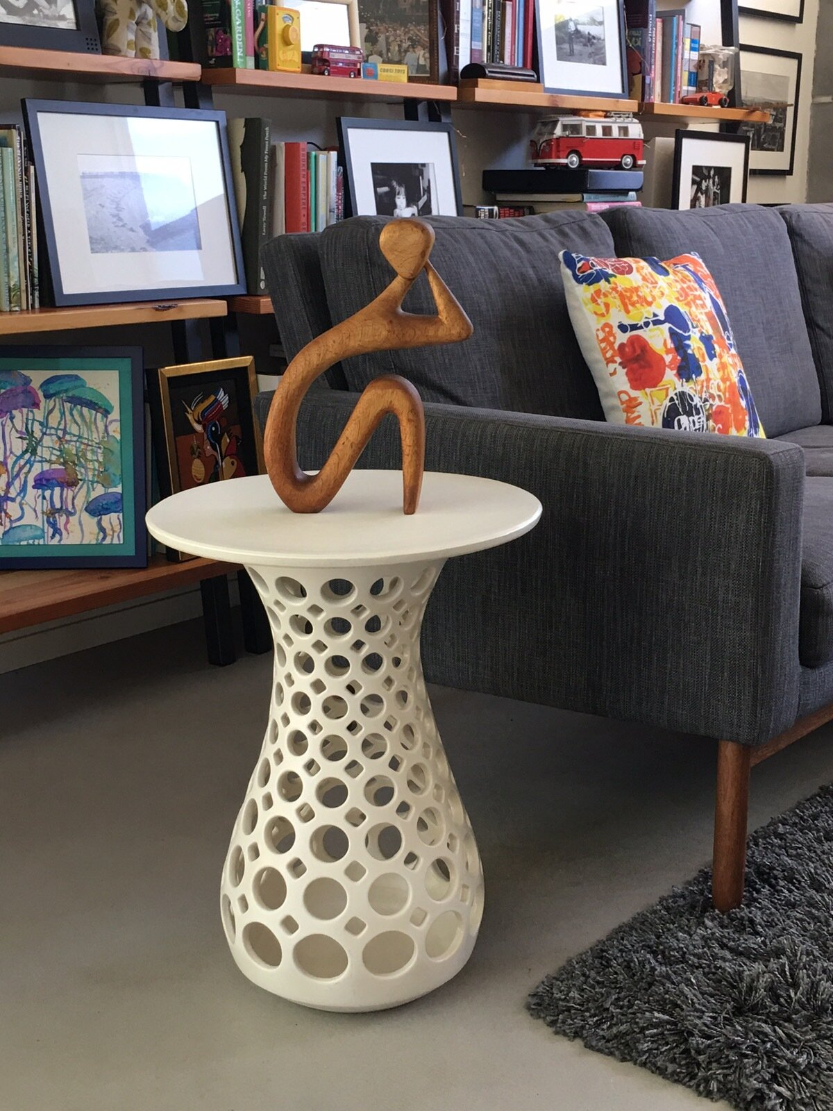 Hourglass openwork table in family room of Eichler private residence, Palo Alto, CA