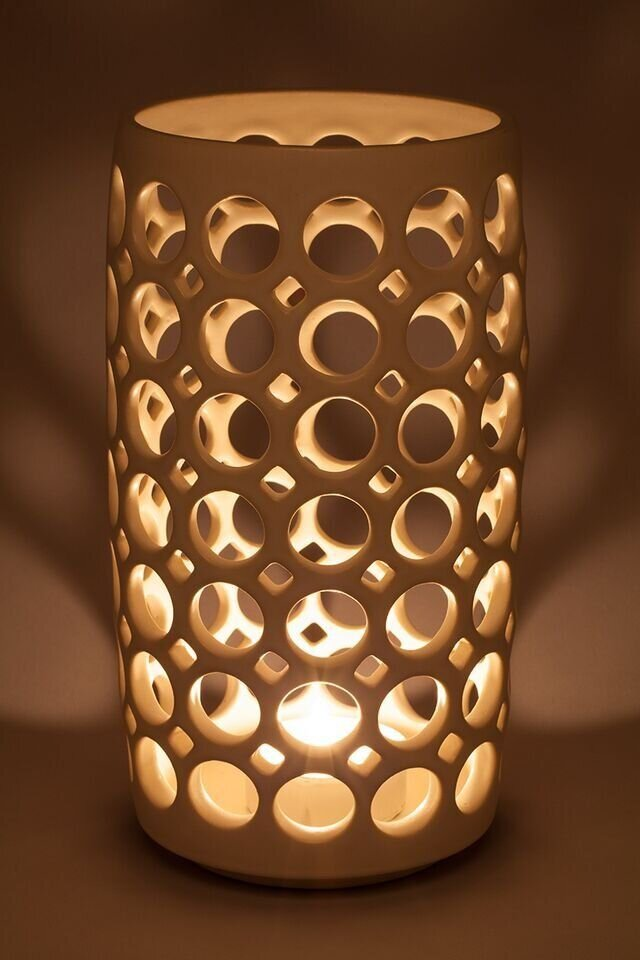 Cylindrical Lace Lantern Vessel - Shown with candle (not included)