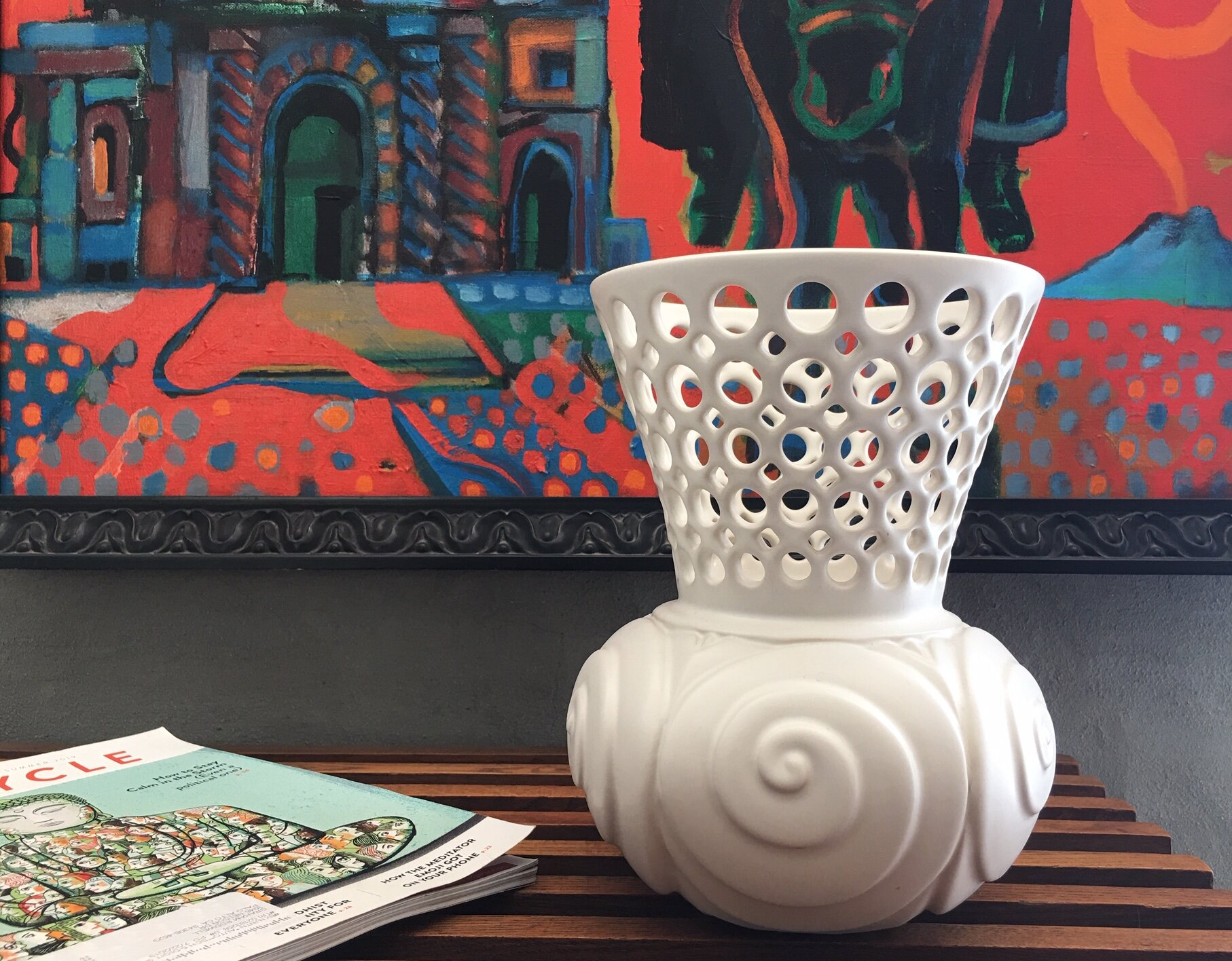 Spiral shell pierced and carved vessel in family room of Eichler residence, Palo Alto, CA